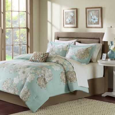 Madison Park Avalon 7-Piece Twin Comforter Set in Blue