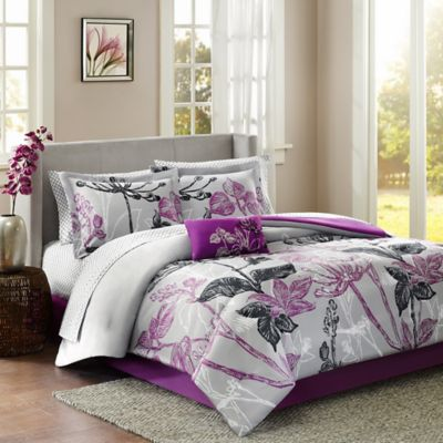 Madison Park Claremont 7-Piece Reversible Twin Comforter Set in Purple