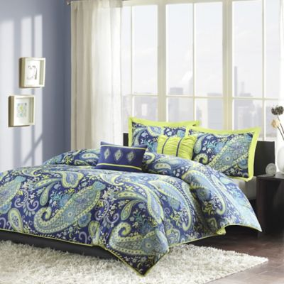 Melissa Reversible Twin/Twin XL Comforter Set in Blue