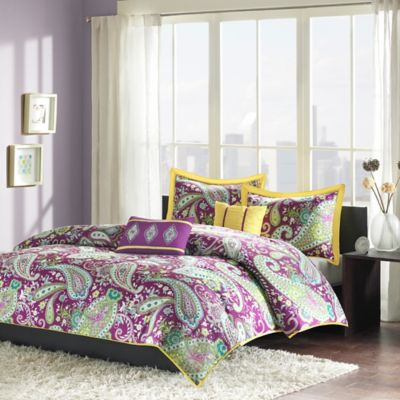 Melissa Reversible Twin/Twin XL Duvet Cover Set in Purple