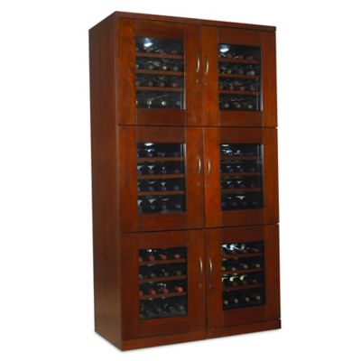 Wine Enthusiast Trilogy 96-Bottle Dual Wine Cellar in Mahogany