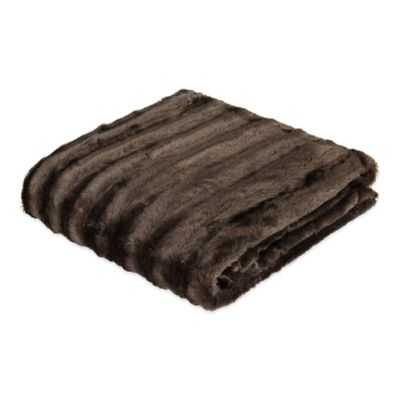 Madison Park Chapman Zebra Long Faux-Fur Throw in Chocolate
