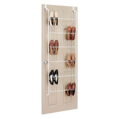 Whitmor 18 Pair Over-the-Door Shoe Rack in White