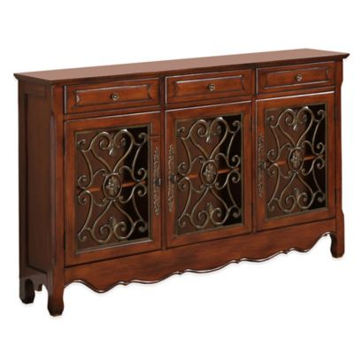 Powell 3-Door Scroll Console in Walnut