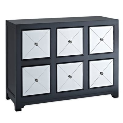 Powell Mirrored 6-Drawer Black Wood Console