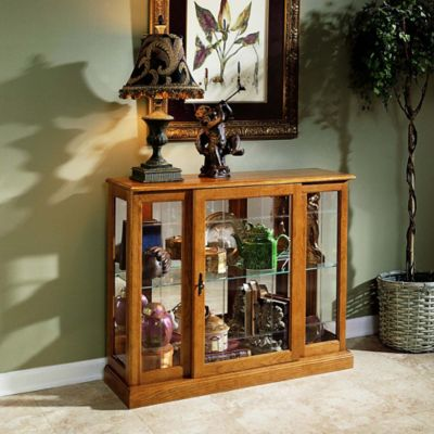 Pulaski Golden Mirrored Console Chest in Brown