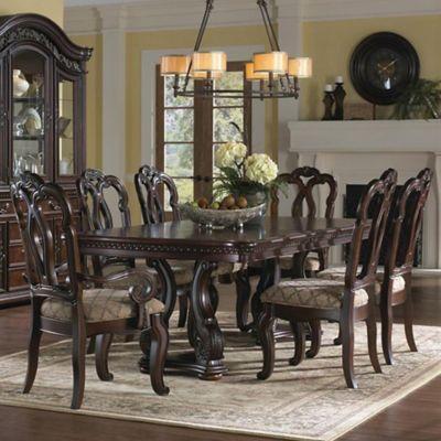 Pulaski San Marino Pedestal Dining Table with 4 Matching Chairs in Sanibel Brown