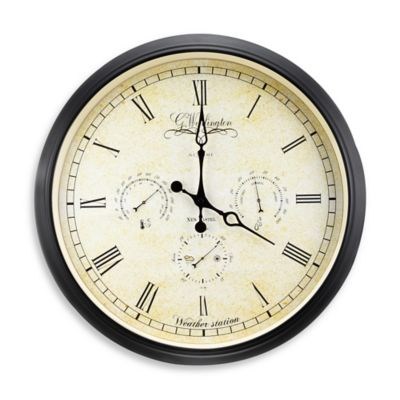 NeXtime Weather Station Wall Clock in Tan/Black