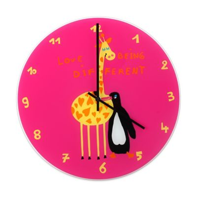 "NeXtime Ben and Gracy ""Love Being Different"" Wall Clock in Pink"