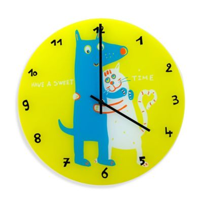 "NeXtime Jim and Jane ""Have a Sweet Time"" Wall Clock in Yellow"
