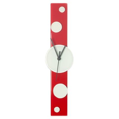 Veritas Handmade Dots Wall Clock in Red/White