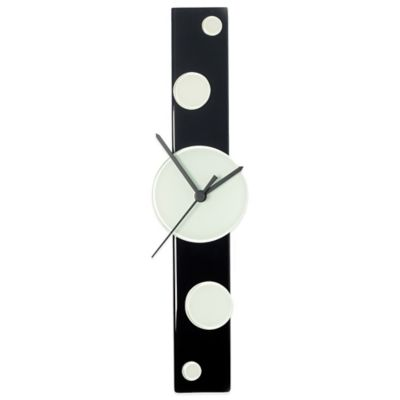 Veritas Handmade Dots Glass Wall Clock in Black/White