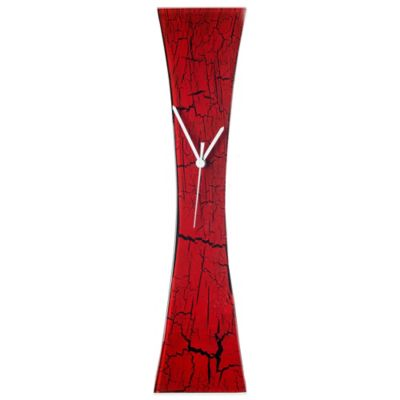 Veritas Handmade Curved Crackle Glass Wall Clock in Red