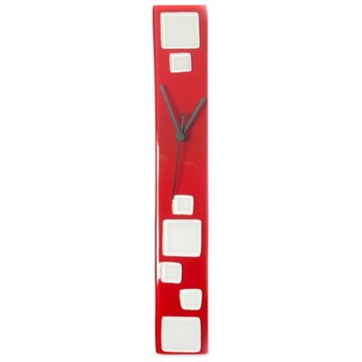 Glass Wall Clock in Red