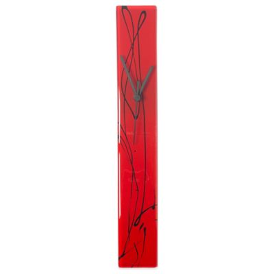 Veritas Handmade Scribbles Glass Wall Clock in Red