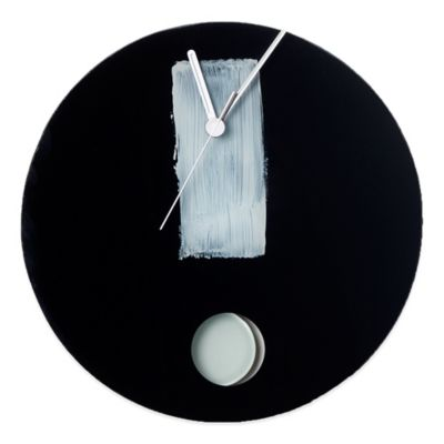 Veritas Handmade Exclamation Glass Wall Clock in Black/White
