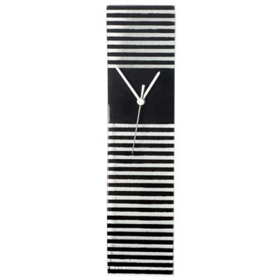 Veritas Handmade Horizontal Stripe Glass Wall Clock in Black/White