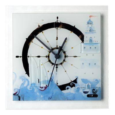 Veritas Handmade Ship's Wheel Glass Wall Clock