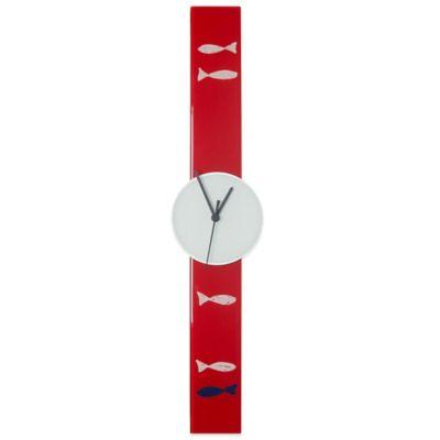 Rectangular Glass Clock in Red