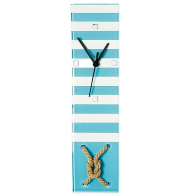 Veritas Handmade Rope Knot Rectangular Glass Clock in Marine Blue/White