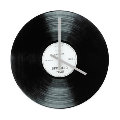 NeXtime Spinning Time Wall Clock in Black/Silver