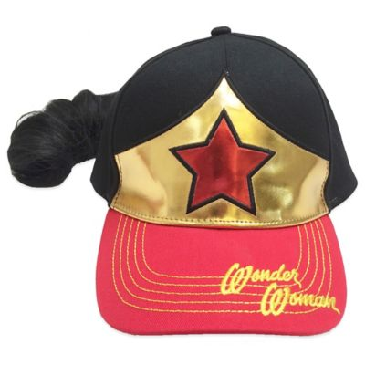 Wonder Woman Baseball Cap with Faux Ponytail