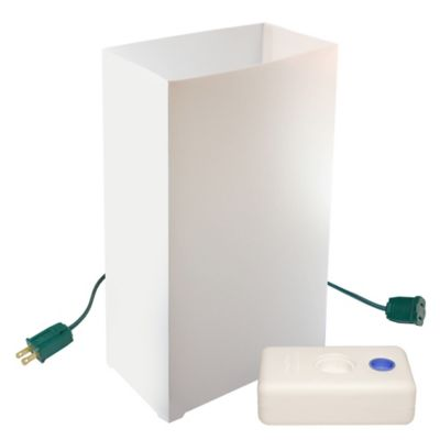 Electric Luminaria Kit with 10-Count White LumaBase Lanterns