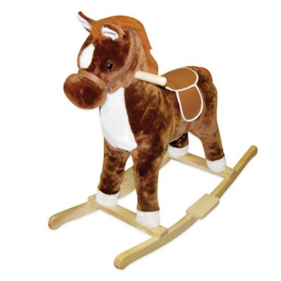 Charm Company 24-Inch Musical Rocking Horse in Brown/White Pinto