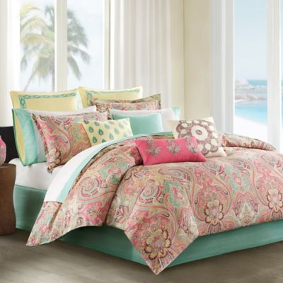 Pink and Green Queen Comforter Set