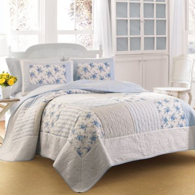 Laura Ashley® Seraphina King Quilt in Blue