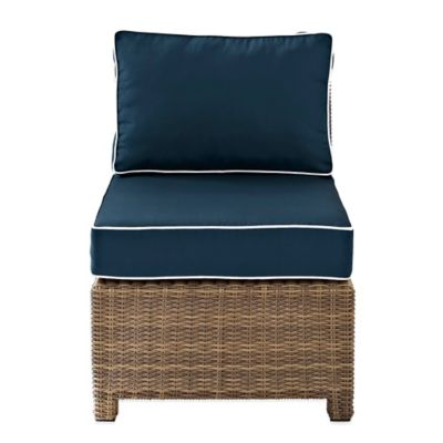 Crosley Bradenton Wicker Armless Center Chair in Navy