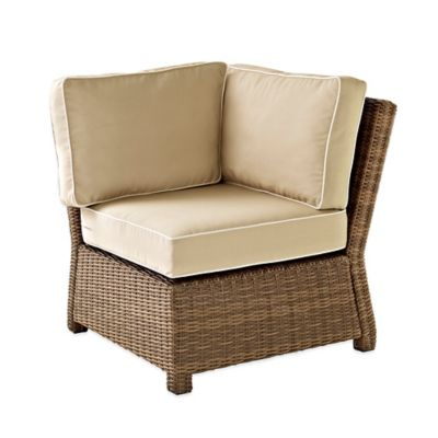 Crosley Bradenton Wicker Corner Chair in Sand