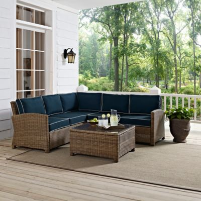 Crosley Bradenton 4-Piece Wicker Sectional Set in Sangria