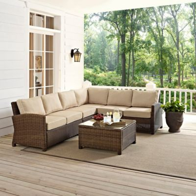 Crosley Bradenton 5-Piece Wicker Seating Set in Sangria