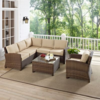 Crosley Bradenton 5-Piece Wicker Conversation Set in Navy