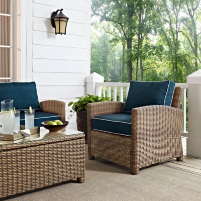 Crosley Bradenton Wicker Arm Chair in Navy