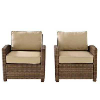 Crosley Bradenton Wicker Arm Chairs in Navy (Set of 2)