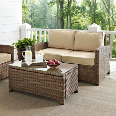 Crosley Bradenton 2-Piece Wicker Loveseat Set in Sand