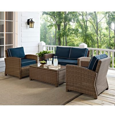 Crosley Bradenton 4-Piece Wicker Conversation Set in Navy