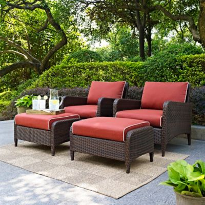 Crosley Kiawah 4-Piece Wicker Arm Chair and Ottoman Set