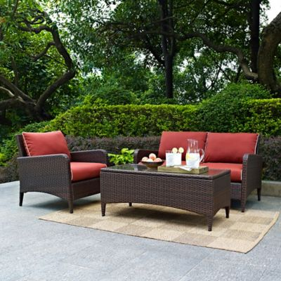 Crosley Kiawah Wicker 3-Piece Wicker Conversation Set