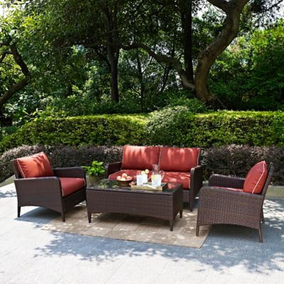 Crosley Kiawah 4-Piece Wicker Conversation Set