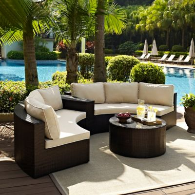 Crosley Catalina 4-Piece Wicker Seating Set in Sand