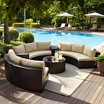 Crosley Catalina 6-Piece Wicker Seating Set in Sand