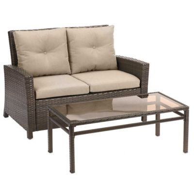Barrington 2-Piece Wicker Loveseat Set in Lime