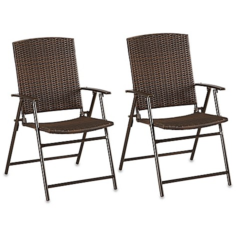 Barrington Wicker Bistro Folding Chairs In Brown Set Of 2