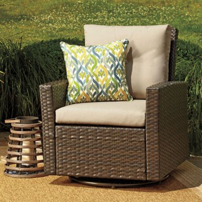 Barrington Wicker Swivel Chair in Tan