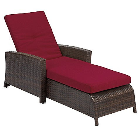 Buy barrington wicker padded chaise lounge in red from bed for Buy chaise lounge