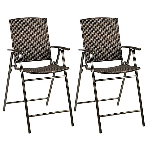 Stratford wicker folding balcony chair set of 2 bed for Tall patio chairs sale
