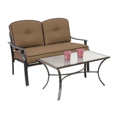 Hawthorne 2-Piece Deep Seating Loveseat Set in Tan